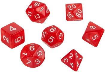Набор кубиков d4, d6, d8, d10, d12, d20, d100: красные (7 шт, 16 мм)