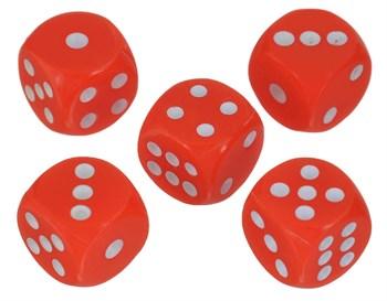 7136 Кости игральные пластиковые, 10мм, 1 шт, цвет красный