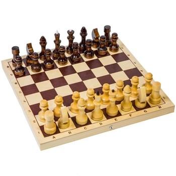 614 / Е-1 Шахматы турнирные лакированные в комплекте с доской (400 х 200 х 55)
