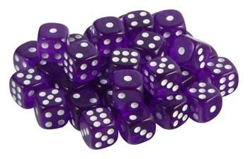 Кубик D6 фиолетовый с белыми точками 15 мм