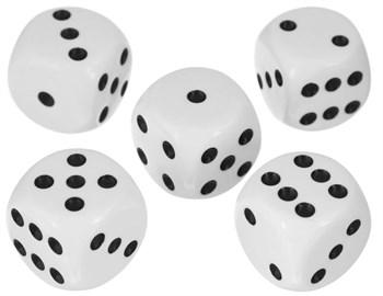 Кубик D6 белый с черными точками 15 мм