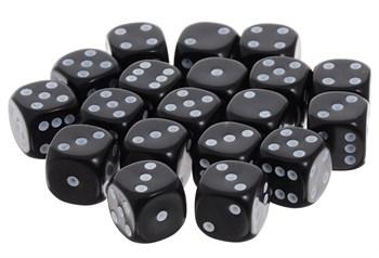 Кубик D6 черный с белыми точками 15 мм