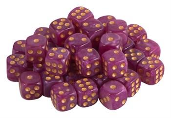 Кубик D6 перламутр фиолетово белый  с золотой точкой 14 мм