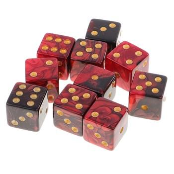 Кубик D6 перламутр красно чёрный с золотой точкой 14 мм