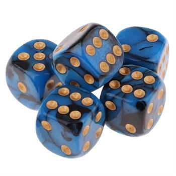 Кубик D6 перламутр сине чёрный с золотой точкой 14 мм