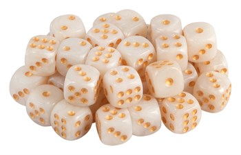 Кубик D6 перламутровые с золотыми точками 10 мм
