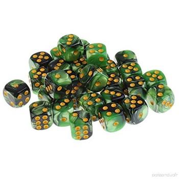 Кубик D6 перламутр зелёно черный с золотой точкой 14 мм