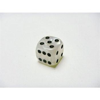Кубик D6 перламутровые белые с чёрными точками 10 мм