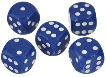 Кубик D6 синий с белыми точками 15 мм