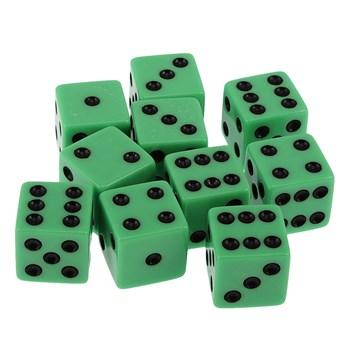 Кубик D6 светло зелёный с чёрными точками 17 мм