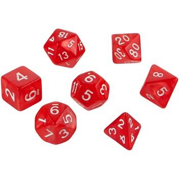 Набор кубиков для D&D красный 7шт. D4 D6 D8 D10 D12 D20