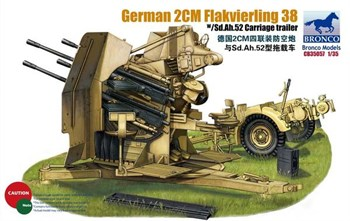 German 2cm Flakvierling 38 W/Sd.Ah.52 Carriage Trailer  (1:35)
