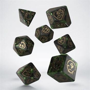Набор кубиков, 7шт., Dragons Bottle Green & Gold
