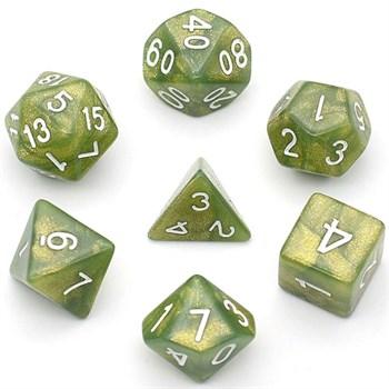 Набор из 7 пластиковых кубиков RPG Перламутровый болотный
