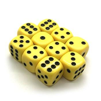 Набор кубиков 10 шт. D6 матовый жёлтый 16мм с закруглёнными углами