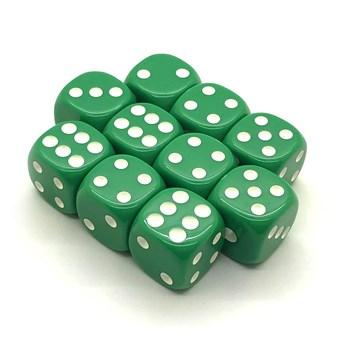Набор кубиков 10 шт. D6 матовый зелёный 16мм с закруглёнными углами