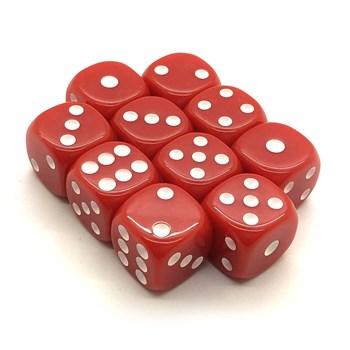 Набор кубиков 10 шт. D6 матовый красный 16мм с закруглёнными углами