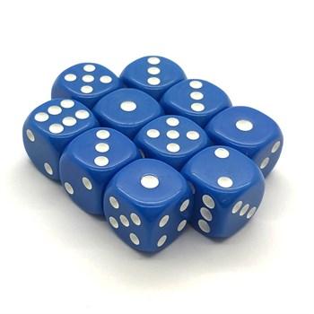 Набор кубиков 10 шт. D6 матовый синий 16мм с закруглёнными углами