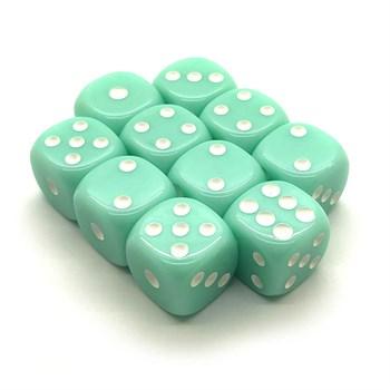 Набор кубиков 10 шт. D6 матовый мятный 16мм с закруглёнными углами