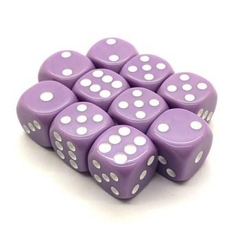 Набор кубиков 10 шт. D6 матовый нежный фиолетовый 16мм с закруглёнными углами