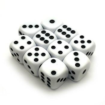 Набор кубиков 10 шт. D6 матовый белый 16мм с закруглёнными углами