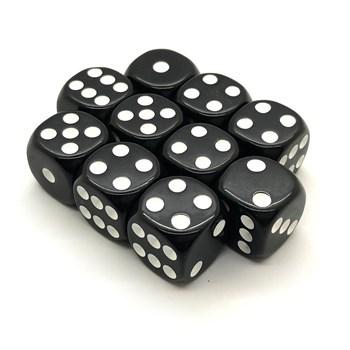 Набор кубиков 10 шт. D6 матовый черный 16мм с закруглёнными углами