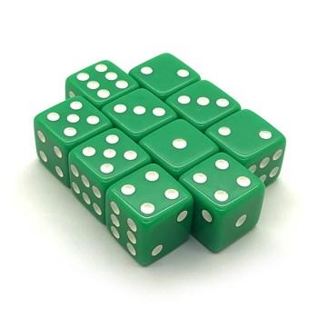 Набор кубиков 10 шт. D6 матовый зелёный 16мм с ровными углами