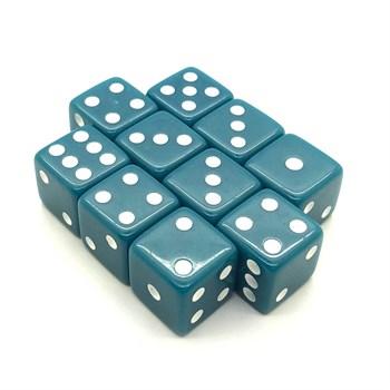 Набор кубиков 10 шт. D6 матовый бирюзовый 16мм с ровными углами