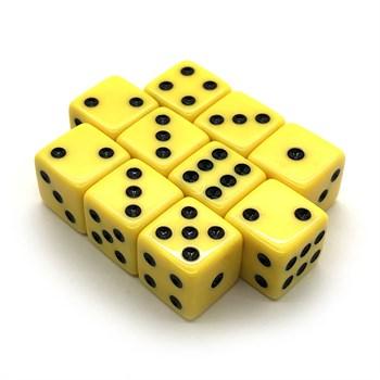 Набор кубиков 10 шт. D6 матовый жёлтый 16мм с ровными углами