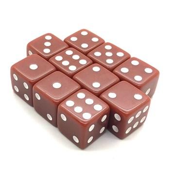 Набор кубиков 10 шт. D6 матовый коричневый 16мм с ровными углами