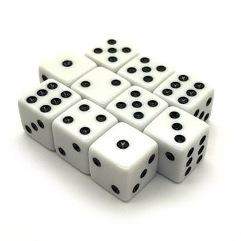 Набор кубиков 10 шт. D6 матовый белый 16мм с ровными углами
