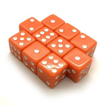 Набор кубиков 10 шт. D6 матовый оранжевый 16мм с ровными углами