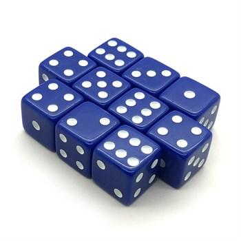 Набор кубиков 10 шт. D6 матовый синий 16мм с ровными углами