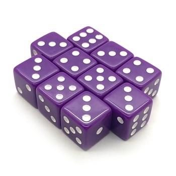 Набор кубиков 10 шт. D6 матовый фиолетовый 16мм с ровными углами