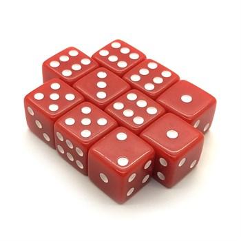 Набор кубиков 10 шт. D6 матовый красный 16мм с ровными углами