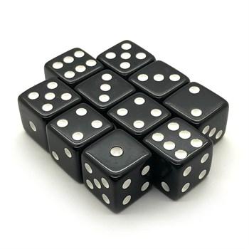 Набор кубиков 10 шт. D6 матовый чёрный 16мм с ровными углами