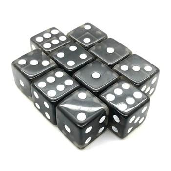 Набор кубиков 10 шт. D6 прозрачный чёрный 16мм с ровными углами