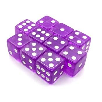 Набор кубиков 10 шт. D6 кристальный фиолетовый 16мм с ровными углами