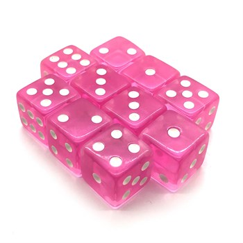 Набор кубиков 10 шт. D6 прозрачный розовый 16мм с ровными углами