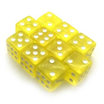 Набор кубиков 10 шт. D6 прозрачный жёлтый 16мм с ровными углами