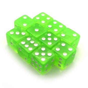 Набор кубиков 10 шт. D6 прозрачный салатовый зелёный 16мм с ровными углами