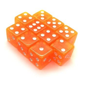 Набор кубиков 10 шт. D6 прозрачный оранжевый 16мм с ровными углами