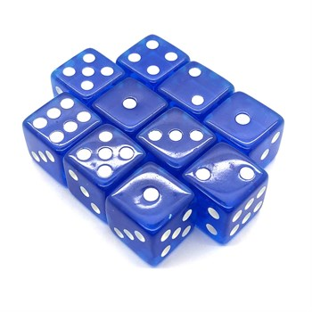 Набор кубиков 10 шт. D6 прозрачный синий 16мм с ровными углами