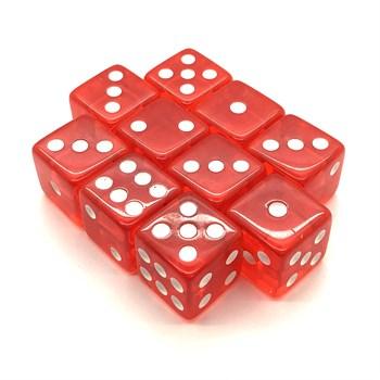 Набор кубиков 10 шт. D6 прозрачный красный 16мм с ровными углами