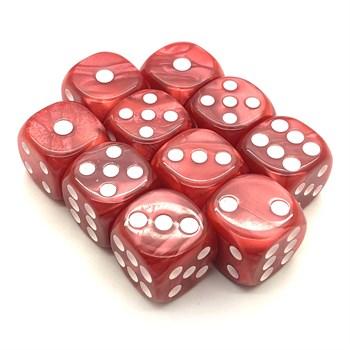 Набор кубиков 10 шт. D6 мраморный красный 16мм с закруглёнными углами