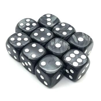 Набор кубиков 10 шт. Кубик D6 мраморный чёрный 16мм с закруглёнными углами