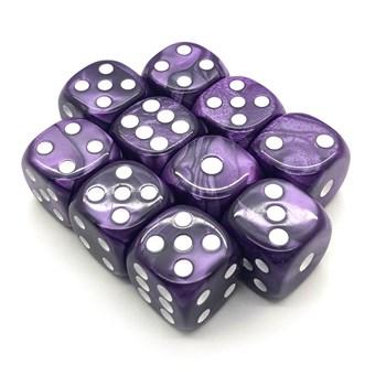 Набор кубиков 10 шт. D6 мраморный фиолетовый 16мм с закруглёнными углами