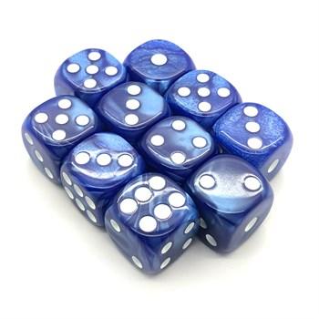 Набор кубиков 10 шт. D6 мраморный синий 16мм с закруглёнными углами