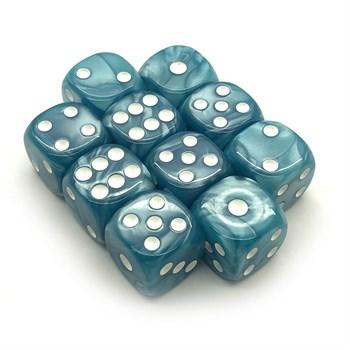 Набор кубиков 10 шт. D6 мраморный бирюзовый 16мм с закруглёнными углами