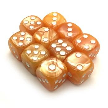 Набор кубиков 10 шт. D6 мраморный жёлтый 16мм с закруглёнными углами